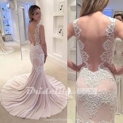 Chicloth Mermaid Appliqued Sleeveless Gown Chiffon Sexy Backless Wedding Dress_2