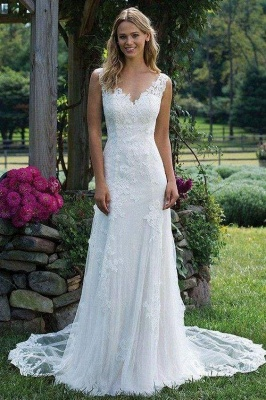 Chicloth Vintage V Neck Sleeveless Tulle Appliqued Wedding Dress_1