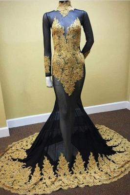 Chicloth Sheer High Neck Appliques Long Sleeve Mermaid Prom Dresses_1