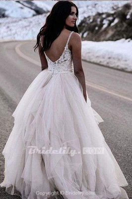 Chicloth Charming Straps Lace Top Backless Tulle Asymmetrical Ivory Wedding Dress_2