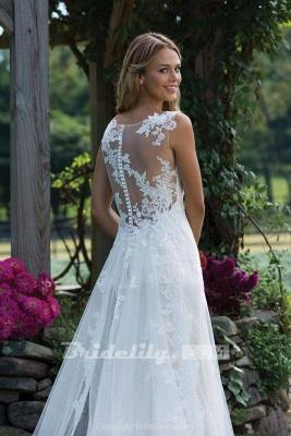Chicloth Vintage V Neck Sleeveless Tulle Appliqued Wedding Dress_4