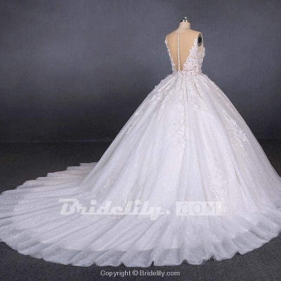Chicloth Ball Gown Sheer Neck Sleeveless White Lace Appliqued Wedding Dress_4