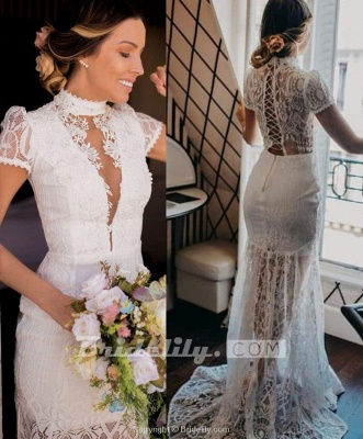 Chicloth Vintage High Neck Lace Short Sleeve Wedding Dress_3