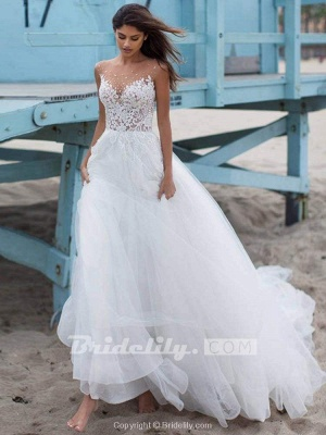 Chicloth Elegant Lace Covered Button Ball Gown Wedding Dresses_2