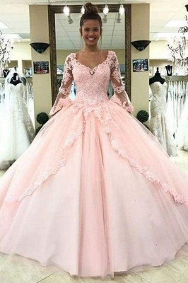 Chicloth Puffy Sleeve Prom Dress with Lace Pink Tulle Long Quinceanera Dresses_1