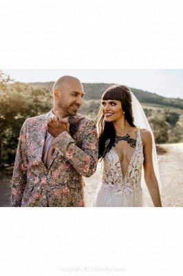 Chicloth Deep V Neck Thigh Split Beach Vintage Wedding Dress_7