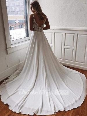 Chicloth Simple Spaghetti-Strap V-Neck Sweep Train Ruffles Wedding Dresses_2