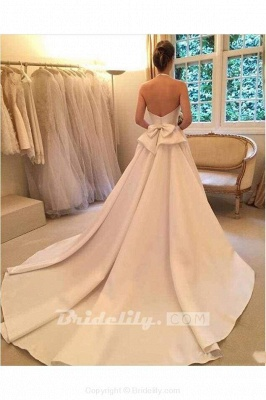 Chicloth A Line Halter Satin Simple Backless Sleeveless Wedding Dress with Bow_3