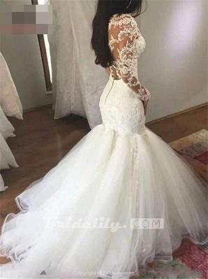 Chicloth Mermaid Sleeves V Neck Long Lace Appliques Wedding Dress_3