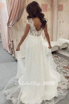 Chicloth A Line V Neck Tulle Beach with Ivory Lace Top Long Wedding Dress_2