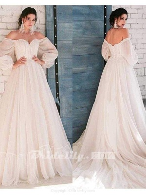 Chicloth Glamorous Off-the-Shoulder A-Line Ruffles Wedding Dresses_3