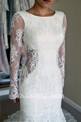 Chicloth Long Sleeves Open Back Lace with Train Mermaid Beach Wedding Dress_3