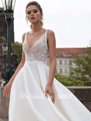 Chicloth Gorgeous V-Neck Lace Ruffles Wedding Dresses_3