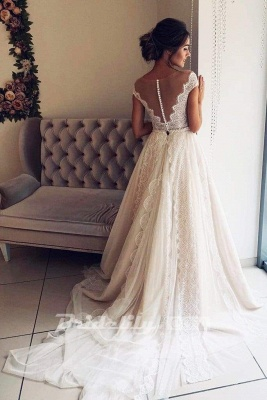 Chicloth A-Line Scalloped-Edge Lace with Sheer Back Ivory Tulle Wedding Dress_2