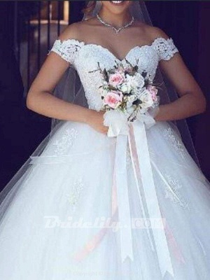 Chicloth Amazing Off-the- Shoulder Lace Ball Gown Tulle Wedding Dresses_2