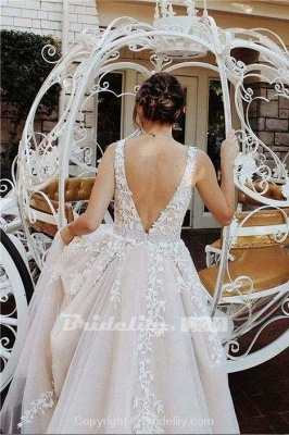 Chicloth A-line V Neck Sexy Lace Appliques Long Wedding Dress_3