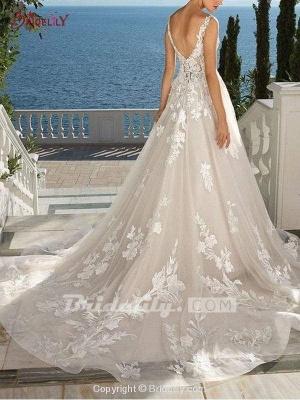 Chicloth Lace Appliques Open Back A-Line Wedding Dresses_4