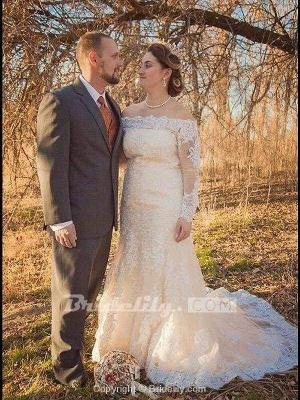 Chicloth Long Sleeves Detachable Train Appliques Mermaid Wedding Dresses_3