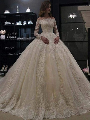 Chicloth Gorgeous Long Sleeves Lace Ball Gown Wedding Dresses_1