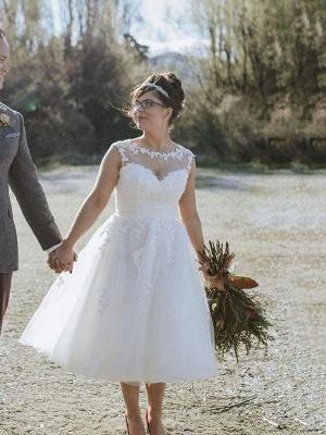 Chicloth Illusion Lace Short Wedding Dresses Tea Length Wedding Dresses_1