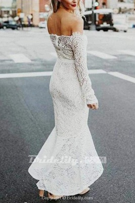 Chicloth High Low Long Sleeves Mermaid Off the Shoulder Lace Wedding Dress_3
