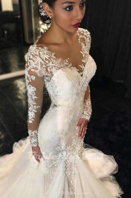 Chicloth Gorgeous Long Sleeves Mermaid V-neck Gown Ivory Wedding Dress_2