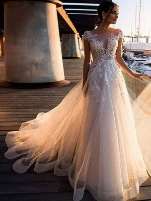 Chicloth O-Neck Appliques Lace A-Line Wedding Dresses