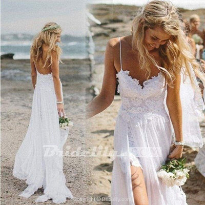 Chicloth Spaghetti Straps White Lace Chiffon Backless Beach Wedding Dress_2