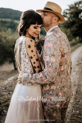 Chicloth Deep V Neck Thigh Split Beach Vintage Wedding Dress_4