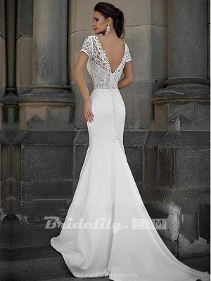 Chicloth Gorgeous V-neck Short Sleeves Lace Mermaid Wedding Dresses_2