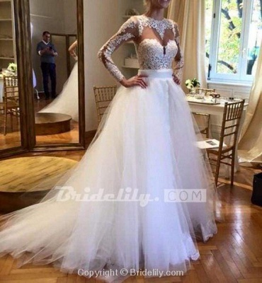 Chicloth White Tulle Crew Neck Sheer Long Sleeve Lace Wedding Dress_2