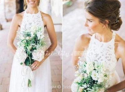 Chicloth Simple Jewel Sleeveless Gown Lace Top Tulle Beach Wedding Dress_4