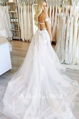 Chicloth New Chapel Train Appliques Tulle Wedding Dress_2