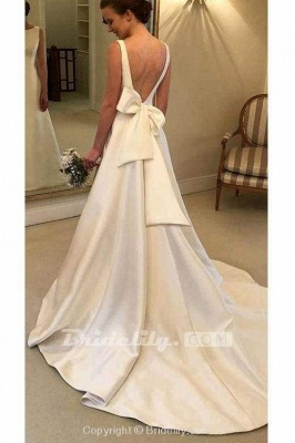 Chicloth Classic Satin A Line Long Backless Wedding Dress_2