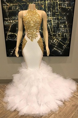 Chicloth Gold and White Long Mermaid Prom Dress_1