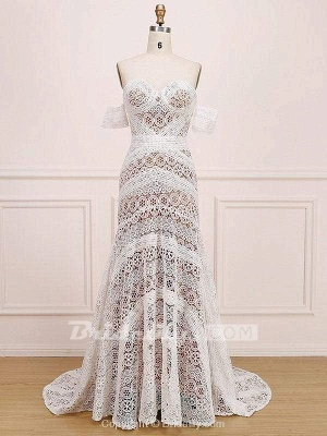 Chicloth Amazing Sweetheart Neck Lace Beach Boho Wedding Dress_5