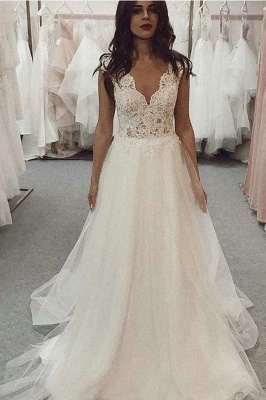 Chicloth A Line V Neck Tulle Beach with Ivory Lace Top Long Wedding Dress_1