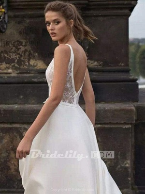 Chicloth Gorgeous V-Neck Lace Ruffles Wedding Dresses_4