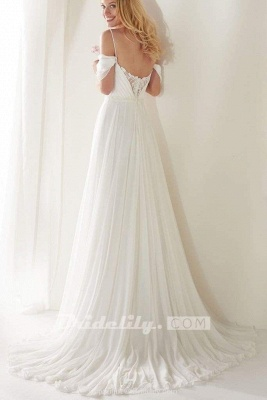 Chicloth Unique Spaghetti Straps Sweep Train Long Beach Wedding Dress_2