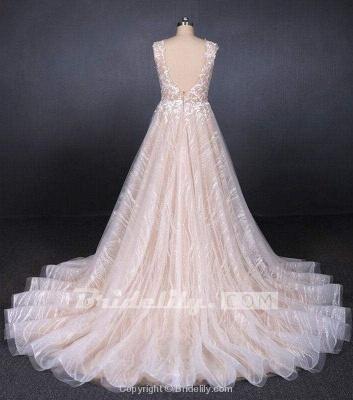 Chicloth Puffy Sleeveless Lace Elegant A Line Backless Wedding Dress_2
