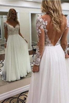 Chicloth A Line Floor Length Long Sleeves V Neck Tulle Beach Wedding Dress_1