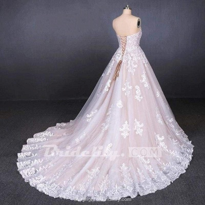 Chicloth Puffy Strapless Tulle with Appliques Long Train Lace Up Wedding Dress_2