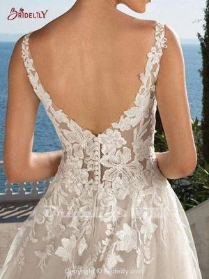 Chicloth Lace Appliques Open Back A-Line Wedding Dresses_2