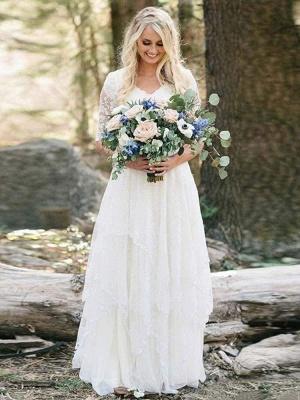 Chicloth Elegant Half Sleeves V-neck Lace Boho Wedding Dress_1