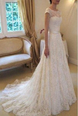 Chicloth Cap Sleeve Lace Long With Court Train Ivory Beach Wedding Dress_1