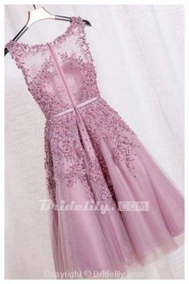 Chicloth Elegant Appliques Formal Short Homecoming Dress Sleeveless Tulle Prom Gown_2