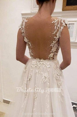 Chicloth Simple Tulle Lace Illusion Back A-Line A Line V Neck Wedding Dress_2