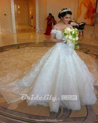 Chicloth Gorgeous Off the Shoulder Puffy Princess Lace Wedding Dress_3