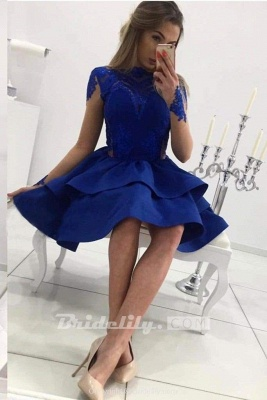 Chicloth Tiered Long Sleeves Royal Blue Satin Homecoming with Appliques Mini Prom Dress_3