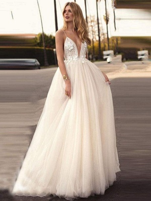 Chicloth Spaghetti-Strap V-Neck A-Line Wedding Dresses